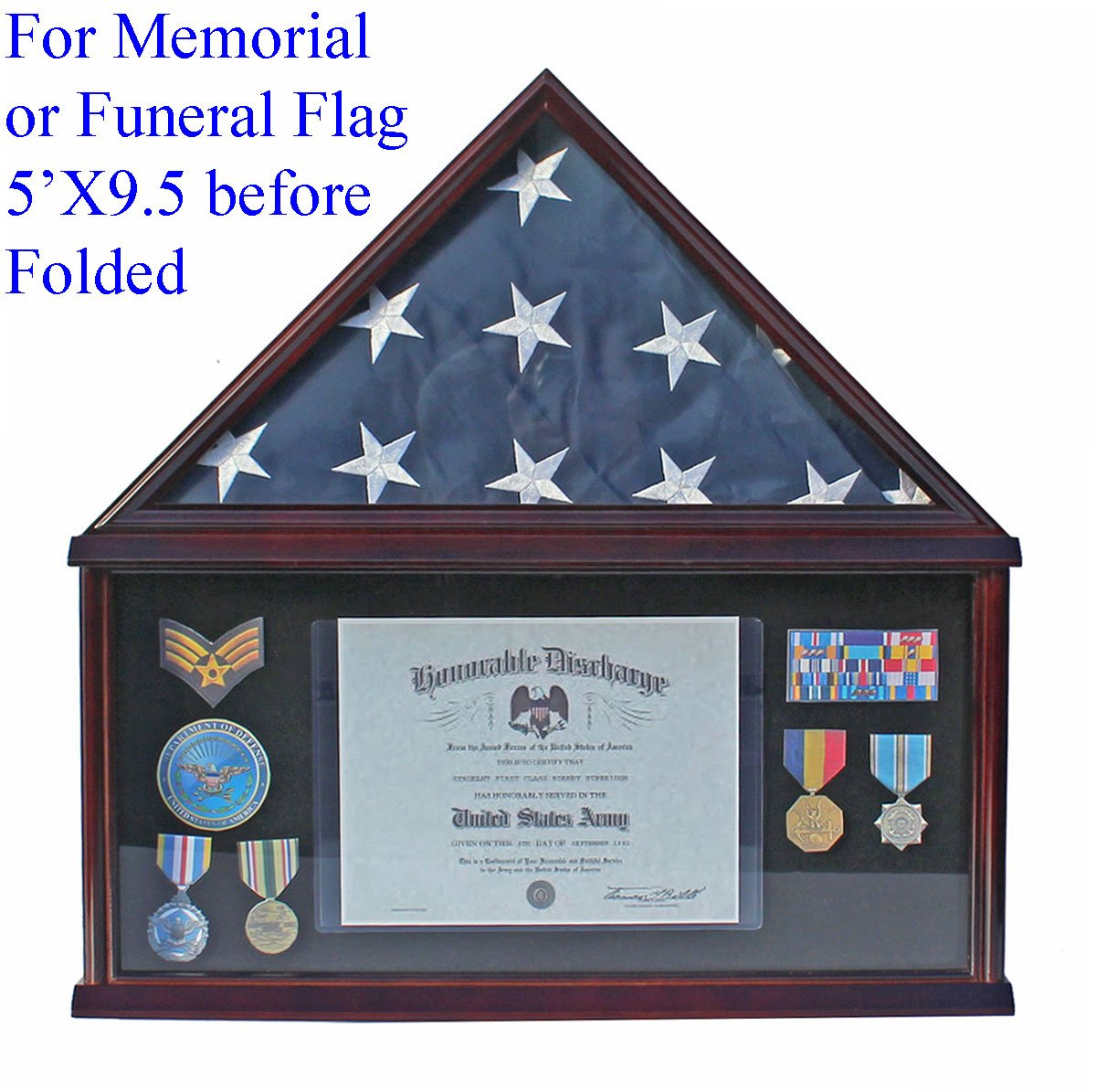 Military Memorial Shadow Box, Burial/Funeral Flag Display Case for 5' X 9.5' Flag (Mahogany) FC07-MA by NULL