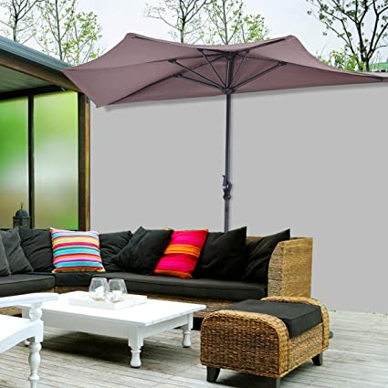 Image Unavailable - Amazon.com : 9Ft Half Round Umbrella Patio Bistro Wall Balcony Door