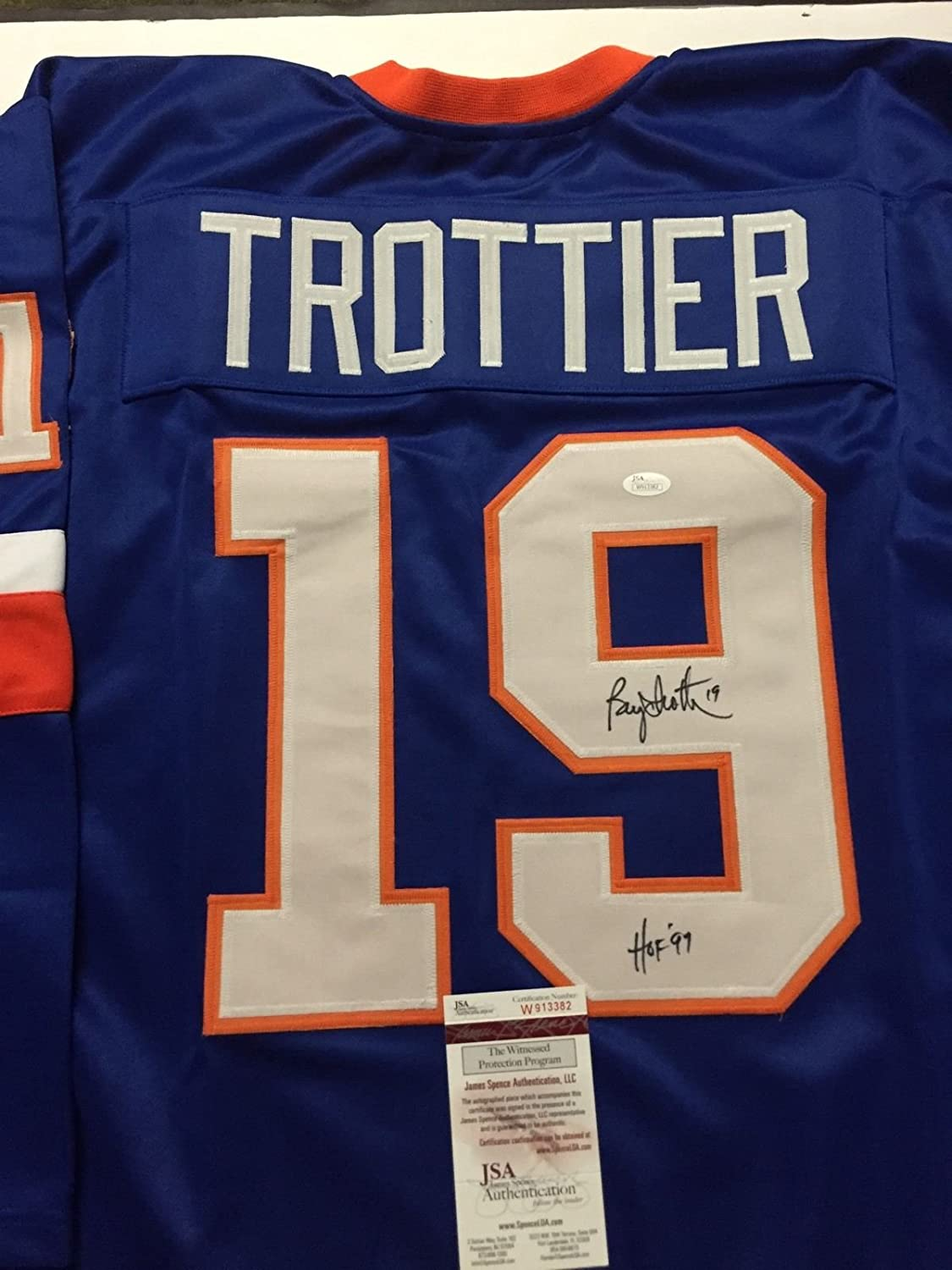 Autographed/Signed Bryan Trottier'HOF 97' New York Blue Hockey Jersey JSA COA
