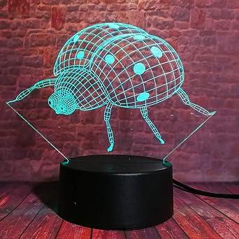 Lámparas de ilusión óptica de LED 3D cerca de luz,7 coloresToque ...