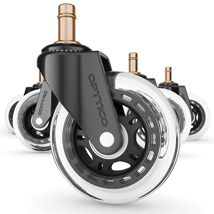 "OPTTICO Office Chair Wheels for IKEA Chairs, Our 3"" Caster Wheels Protect Your Hardwood Floors Better Than Any Office Chair Mat - Silent & Smooth Rolling Rollerblade Desk Chair Casters."