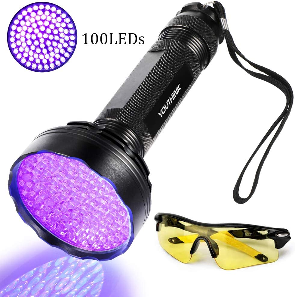 Linterna UV Ultravioleta LED 395nm, Flashlight Blacklight Lámpara Luz Negra Portátil Detectar Orina de Mascotas Perros Gato, Escorpión (Latest 100 LEDs)