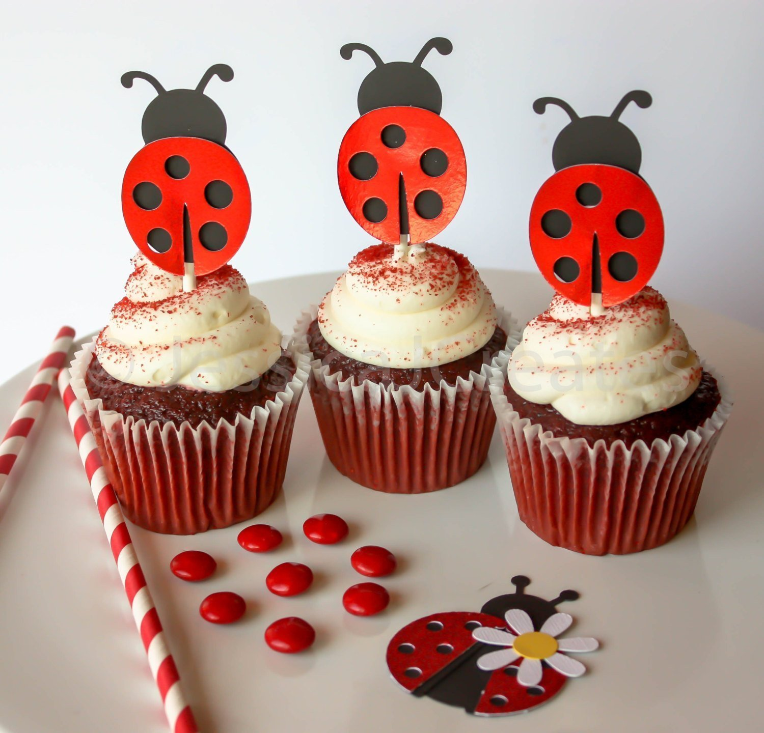 Ladybug Cupcake Toppers - Cupcake Toppers - Red Foiled Cupcake Toppers - Red Ladybugs - 12 ct