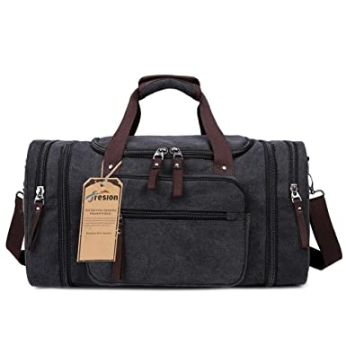 Overnight Bag Two Side Pockets For Extensions Unisex Weekend Canvas Holdall Travel Black
