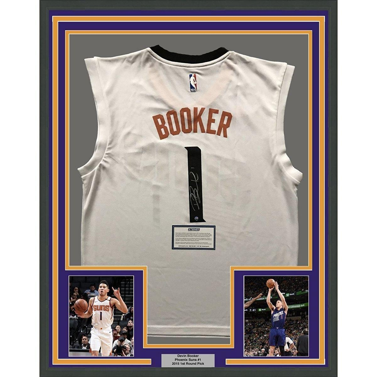 Signed Devin Booker Jersey - FRAMED 33x42 White COA - Steiner Sports  Certified - Autographed NBA Jerseys at Amazon s Sports Collectibles Store 4c6379cce