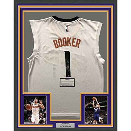 5988ea121d72 Signed Devin Booker Jersey - FRAMED 33x42 White COA - Steiner Sports  Certified - Autographed NBA