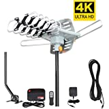 TV Antenna,MATIS Outdoor Amplified HDTV Antenna with Adjustable Antenna Mount Pole 150 Miles Range 360° Rotation Wireless Remote for a better reception with 4K ready
