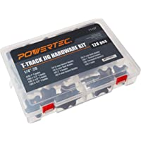 POWERTEC 71127 Jig and Fixture T-Track Hardware Kit w/Knobs and 1/4-20 Threads   128 Piece Set