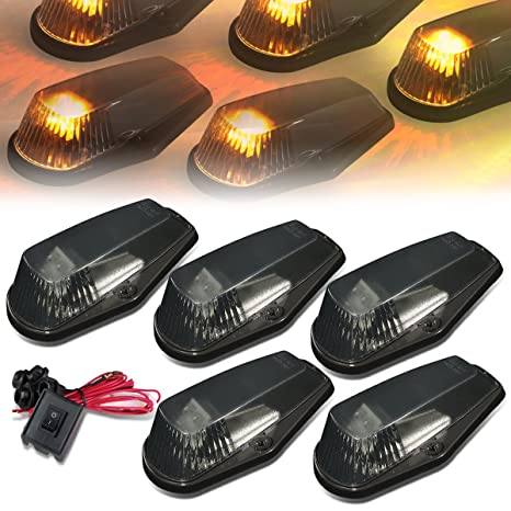 amazon com: for ford f150-f450 5 x led cab roof top lights + wiring +  switch (smoked housing yellow led): automotive