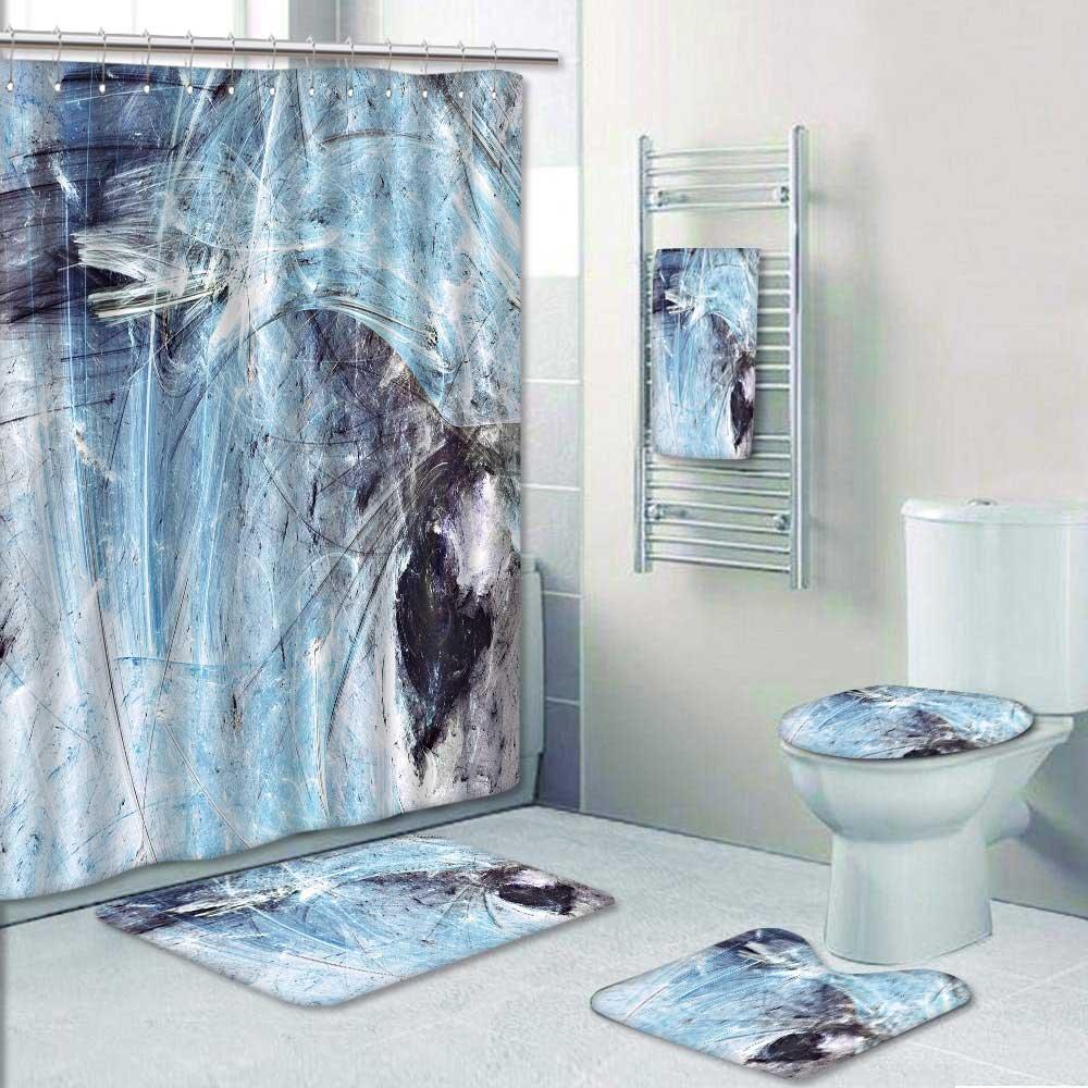 VROSELV Designer Bath Polyester 5 Piece Bathroom Set Blue Grey And White Icy Soft