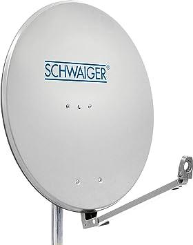 SCHWAIGER -241- Antena satelital | Antena satelital con Brazo de Soporte LNB y Montaje en el mástil | Antena satelital de Aluminio | Gris Claro | 88 x ...