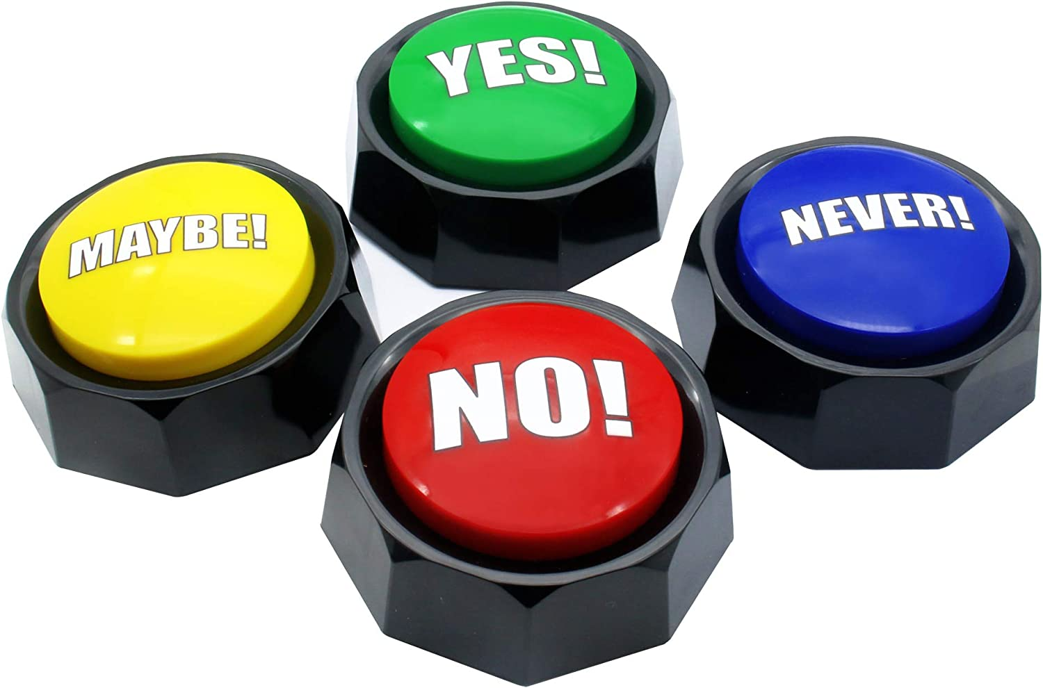 Sound Button - Buzzers - Talking Button - Answer Buzzers - No Button - Yes Maybe Never Button - Wrong Button - Learning Buzzers - Set of 4 Assorted Colored Buzzers, Material Safety, Increase Fun