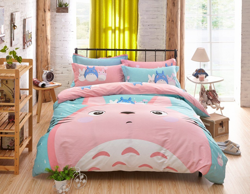 4 Pieces Bedding Set 100% Cotton Pink Totoro Duvet Cover Set