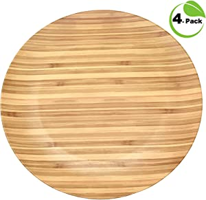 Motivex TopSeller Bamboo Fiber Plastic Dinner Plates 4-Pack for Indoor, Outdoor, Patio, BBQ, Poolside, Party, Events, and Everyday Use