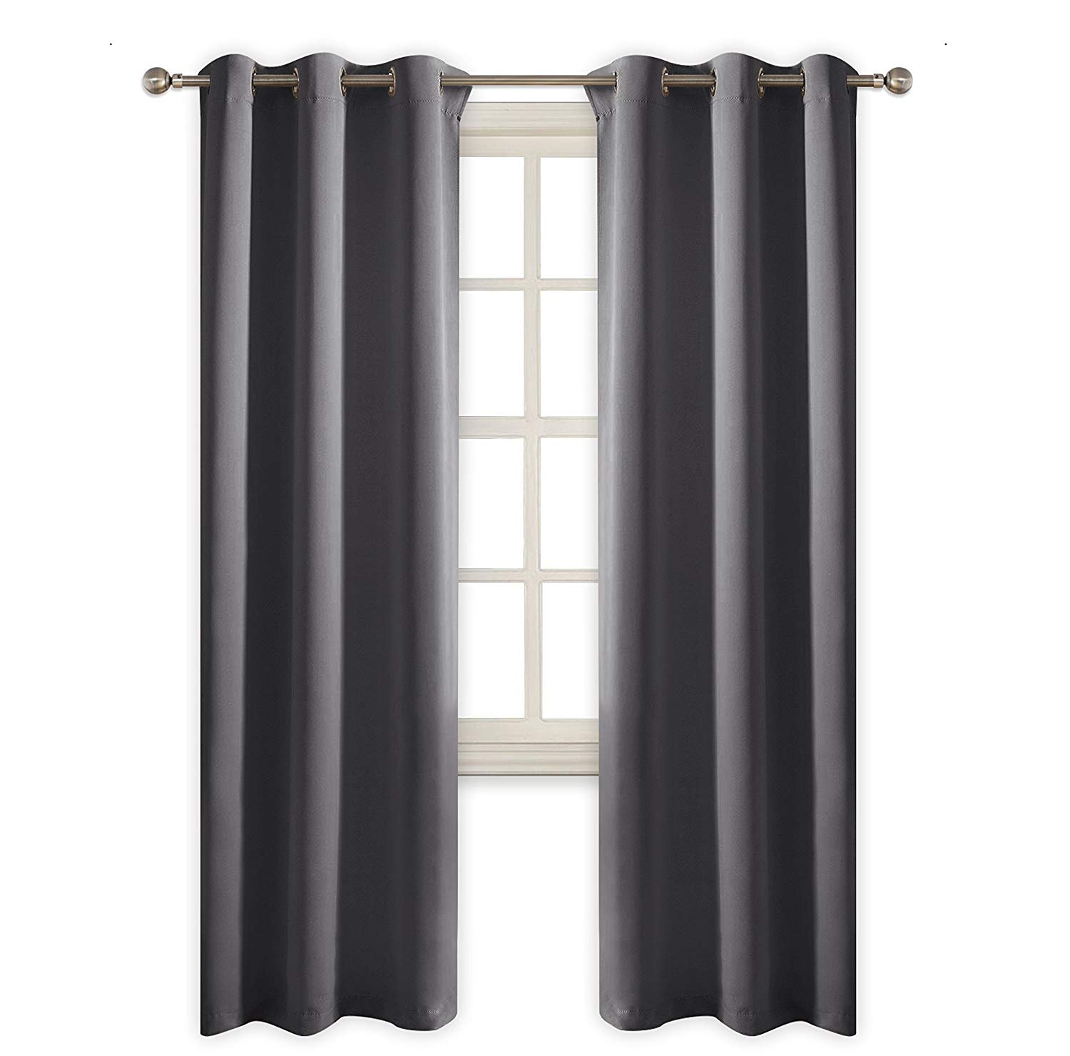 Window Treatment Blackout Curtains, ADSRO 2 Panel Room Curtains Armrests Top Shading Insulation Room Bedroom/Living Room Curtains Size 42 x 45 inch (Grey)