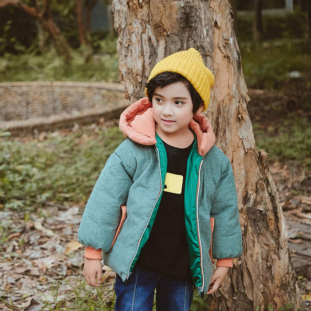 M/&A Kids Thickened Puffer Jacket for Girls Boys Colorblock Winter Coat Outwear