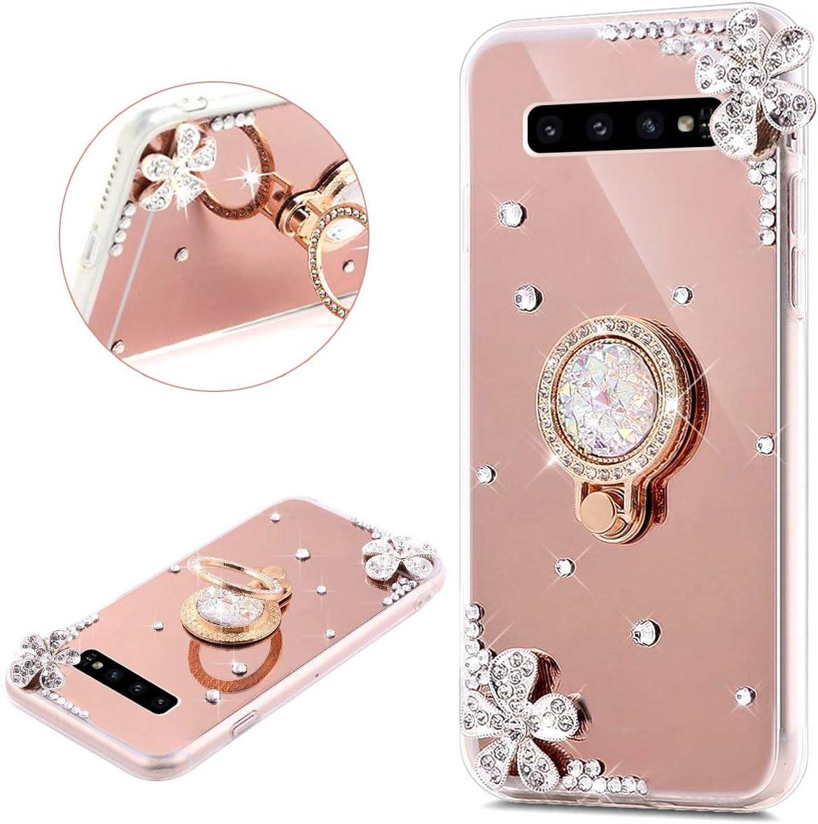 JAWSEU Compatible avec Samsung Galaxy S10 Plus Coque Silicone Glitter Strass Diamant Miroir Bague de Support,Luxe Mode Cristal Clair Fleur Miroir Etui SoupleTPU Gel T/él/éphone Coque Bumper Case,or rose