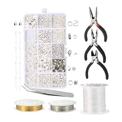 f90cf89c0d0a6 Jeteven Jewelry Making Kit, Jewelry Findings Starter Kit, DIY Jewelry  Beading Repair Tool Set with Jewelry Pliers Tweezer Beads Wires for Adults  and ...