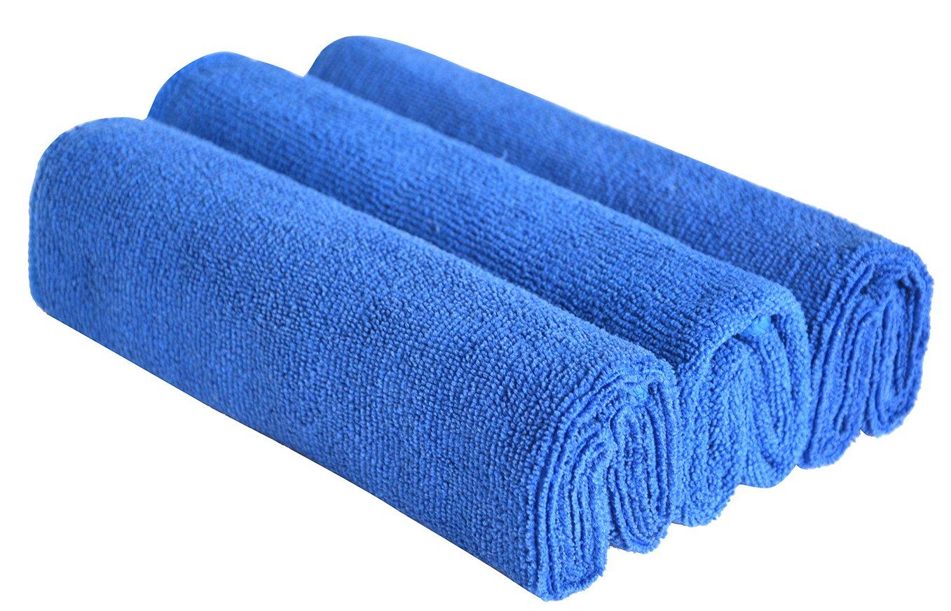 SINLAND bayetas de microfibra limpieza toallas de lavado de coches absorbente coche bayetas azul claro+azul profundo+gris 40cmx60cmx3