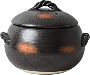 LIUSHI Earthenware Made of Earthenware Heat-Resistant Glazed Rice Cooker Japanese hot Pot Ceramic Casserole with Large Capacity and lid Slow SL stew Made of Clay Black Soup Soup 4.2 l