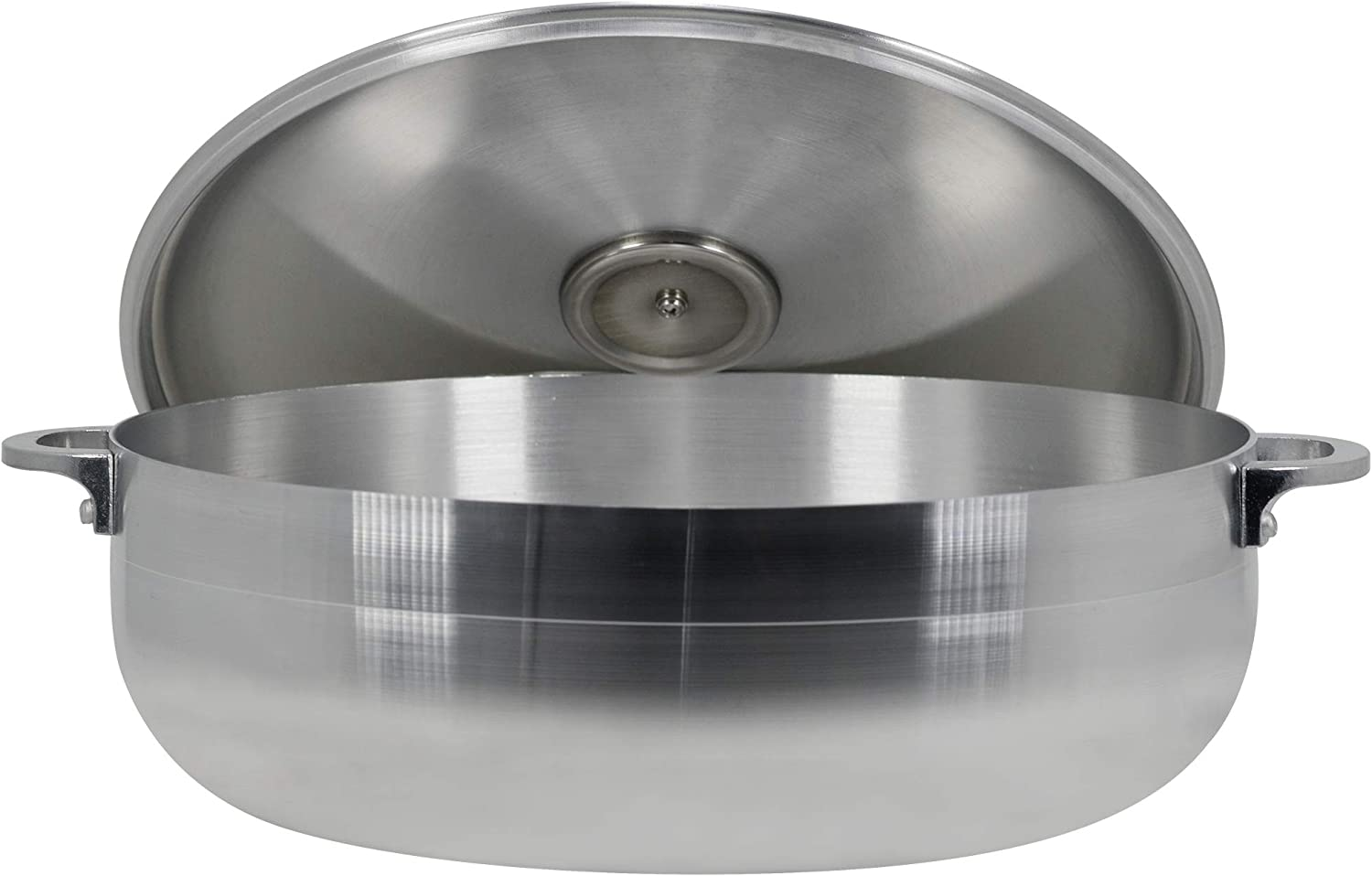 Polished Cast Aluminum Caldero with Lid by Elevate Home Products Traditional Columbian Stainless Steel Stock Pot Dishwasher Safe Silver Dutch Ovens for Cooking and Serving (9.50 Quarts)