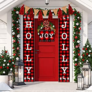 Christmas Banner Holly Jolly Banner Decorations Outdoor Indoor, Holly Jolly and Joy Porch Sign, Christmas Buffalo Check Banner for Home Wall Decorations
