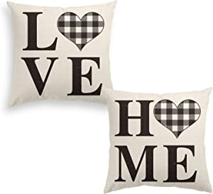 AVOIN Set of 2 Buffalo Check Plaid Love Heart Home Throw Pillow Cover, 16 x 16 Inch White and Black Holiday Fall Thanksgiving Rustic Farmhouse Cushion Case for Sofa Couch