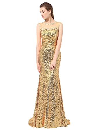 Belle House Womens Prom Dresses 2018 Long Gold Sequins Formal Dresses Mermaid Evening Dresses Ball Gowns
