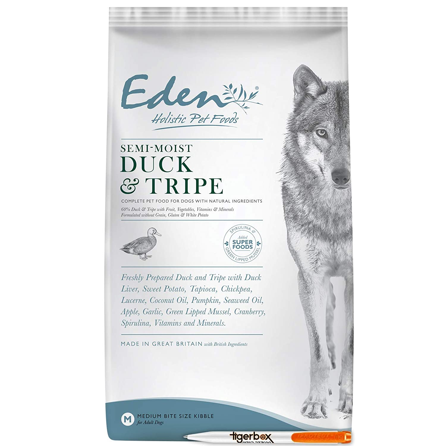 6KG 6KG Eden Semi-Moist Duck & Tripe Dog Food AND Tigerbox® Antibacterial Pen
