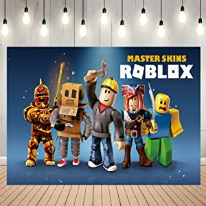 Video Game Photography Vinyl Photo Background for Kids Ro-blox Theme Birthday Party Backdrops Decoration Baby Shower Table Wall Decor Photography Photo Shoot Booth Props 5x3FT