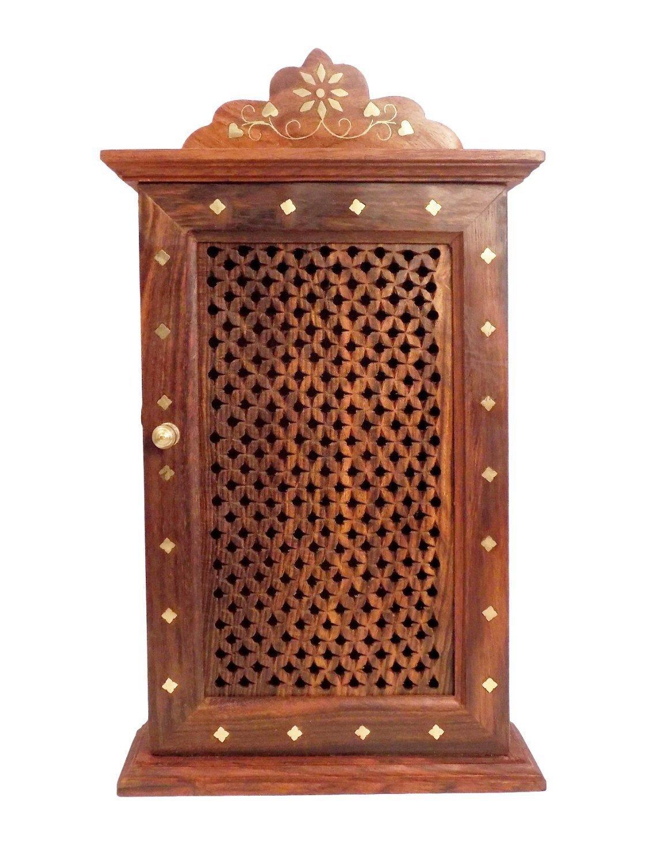 IndiaBigShop Wooden Key Holder Wall Hanging Key Organizer Key Storage Box Net Design with 6 Key Hooks 13 Inch