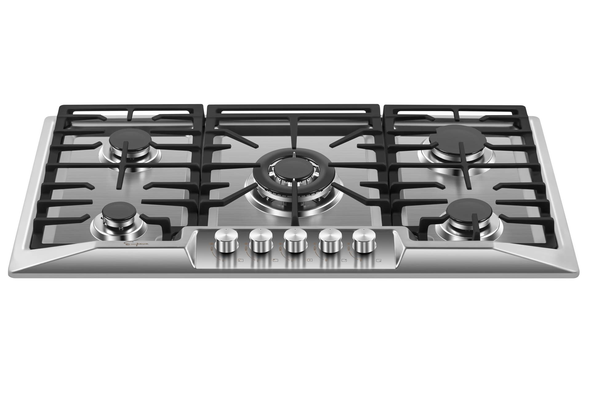 Empava 36 Inch Gas Stove Cooktop with 5 Italy Sabaf Sealed Burners NG//LPG Convertible in Stainless Steel