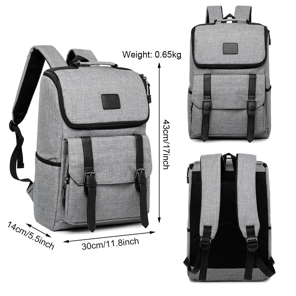 Unisex Professional Slim Business Backpacks Laptop, Feskin Fashion Lightweight Casual Tablet Backpack Daypacks Shoulder Bags for School Students Laptop Macbook Computer - Grey by Feskin (Image #2)