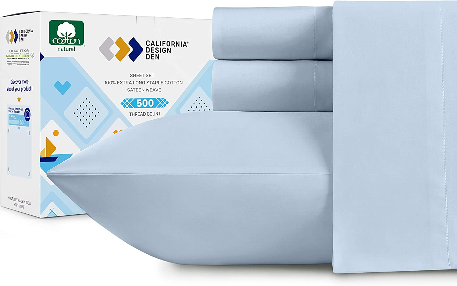 Full Cotton Sateen Sheet Set - 500 Thread Count Light Blue Sheets, Pure Cotton 4 Piece Luxury Bedding, Wrinkle Resistant Comfortable Sheets, Deep Pocket Fits Mattress 16 Inches