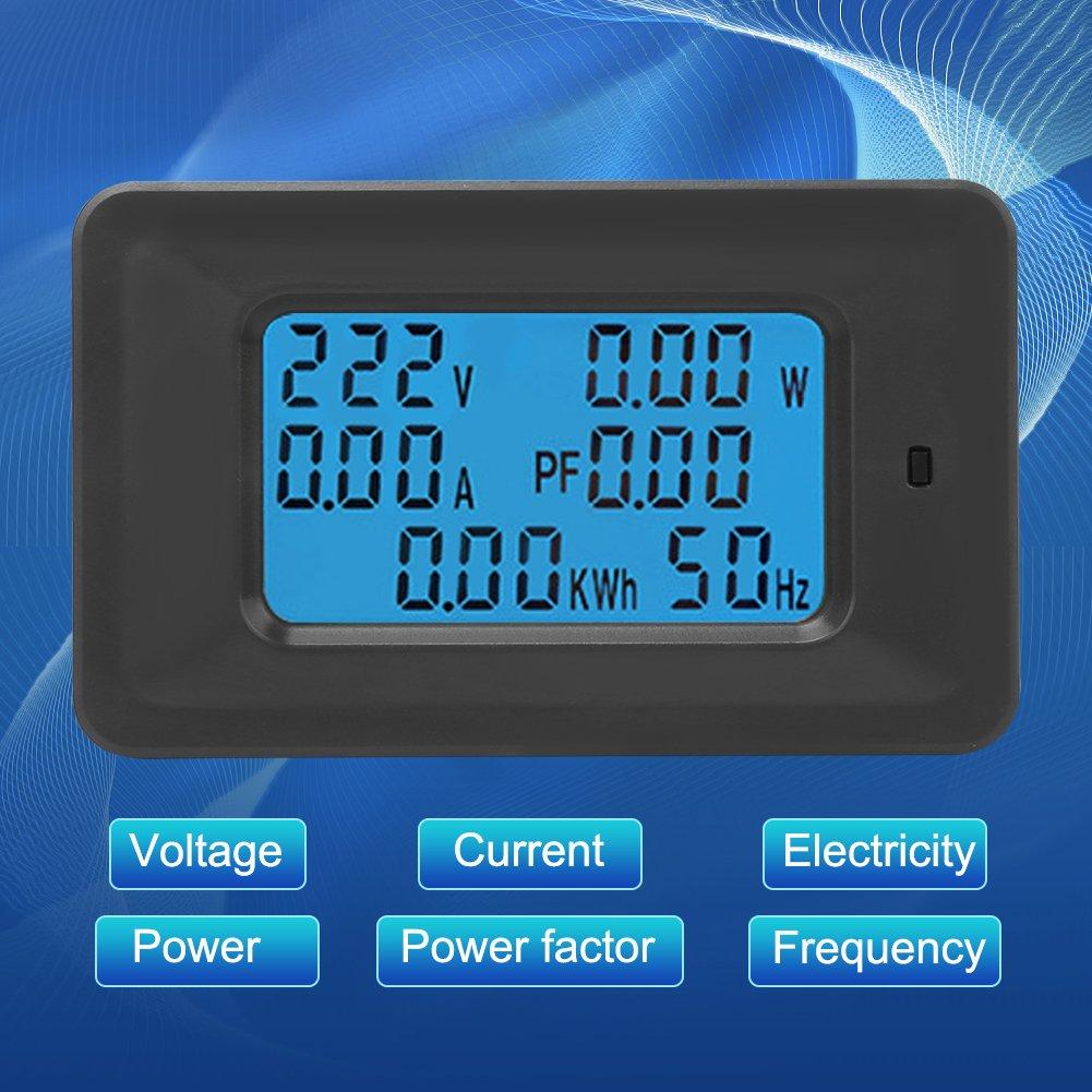 vatio amperio voltio 6-en 1 Panel de medidor el/éctrico dom/éstico AC 20A 110-250V Pantalla digital Potencia multifunci/ón Medidor Probador Monitor de frecuencia Voltaje Corriente