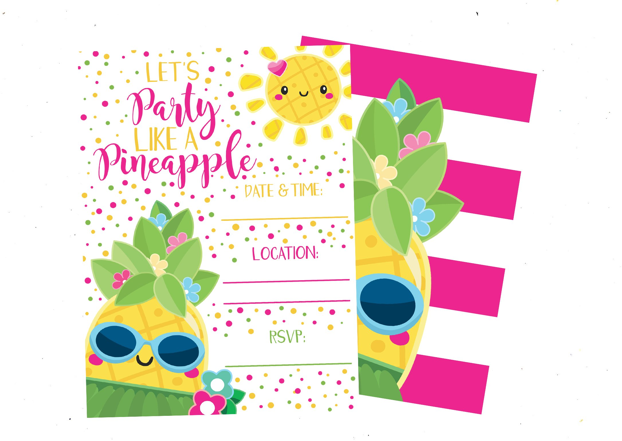 Party Like a Pineapple Bright Invitations (Set of 12) with Envelopes by Silly Goose Gifts