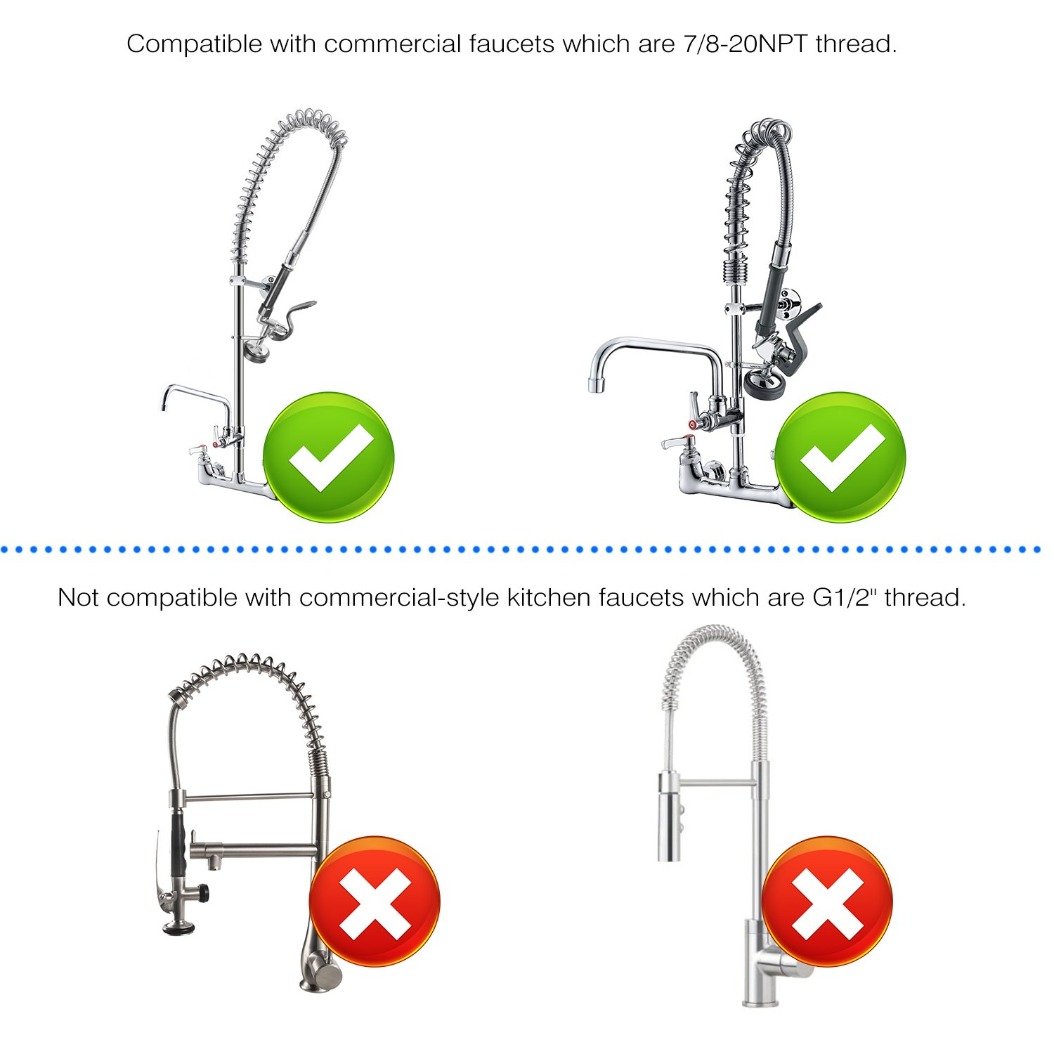 JZBRAIN Pre Rinse Sprayer Commercial Kitchen Sink Faucet Head Sets Parts Chrome Brushed by JZBRAIN (Image #6)