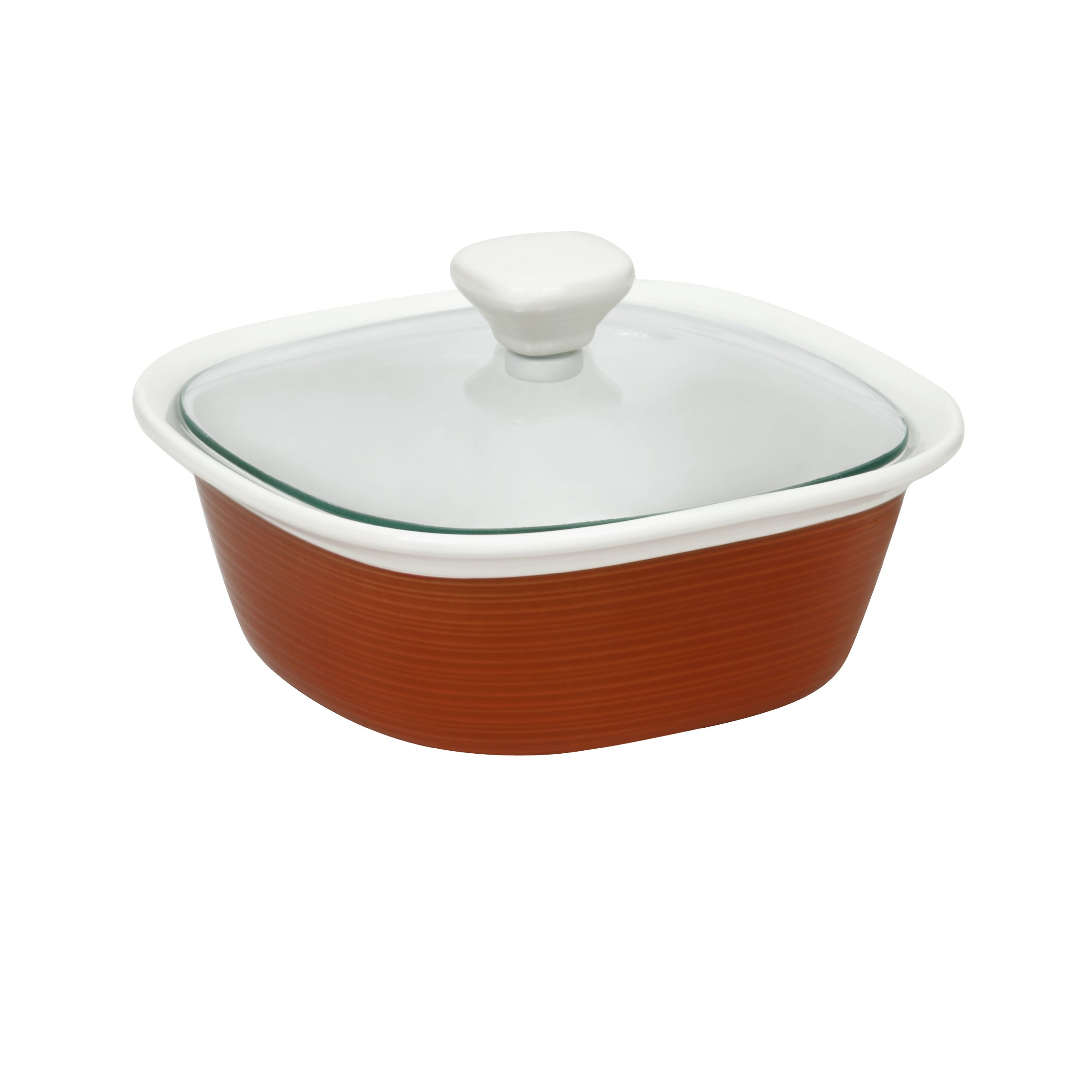 CorningWare Etch 1.5 Quart with Glass Cover in Brick