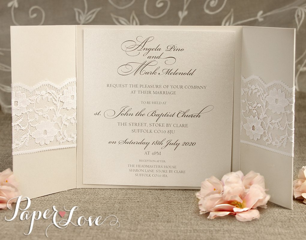 Personalised Wedding Invitations & Evening Invites Handmade - Lace ...
