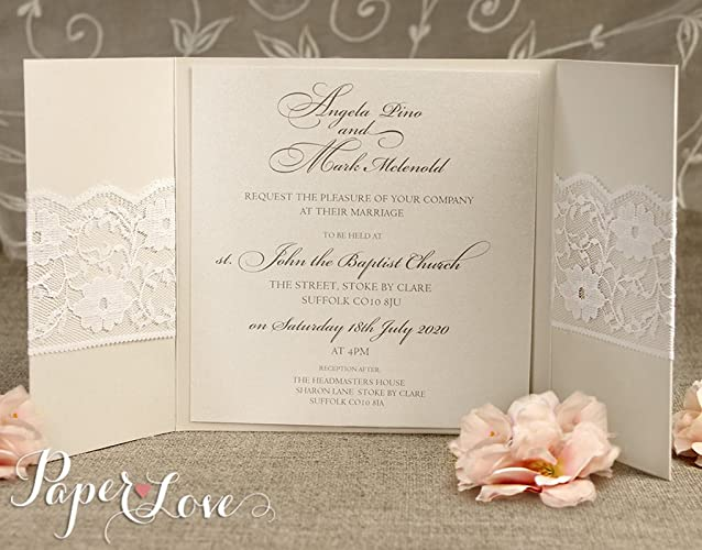 Personalised Wedding Invitations Evening Invites Handmade Lace