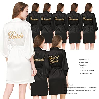 2b8a319d76 Image Unavailable. Image not available for. Color  PROGULOVER Set of 8  Women s Satin Kimono Robes for Bride Bridesmaid with Gold Glitter Wedding  Party