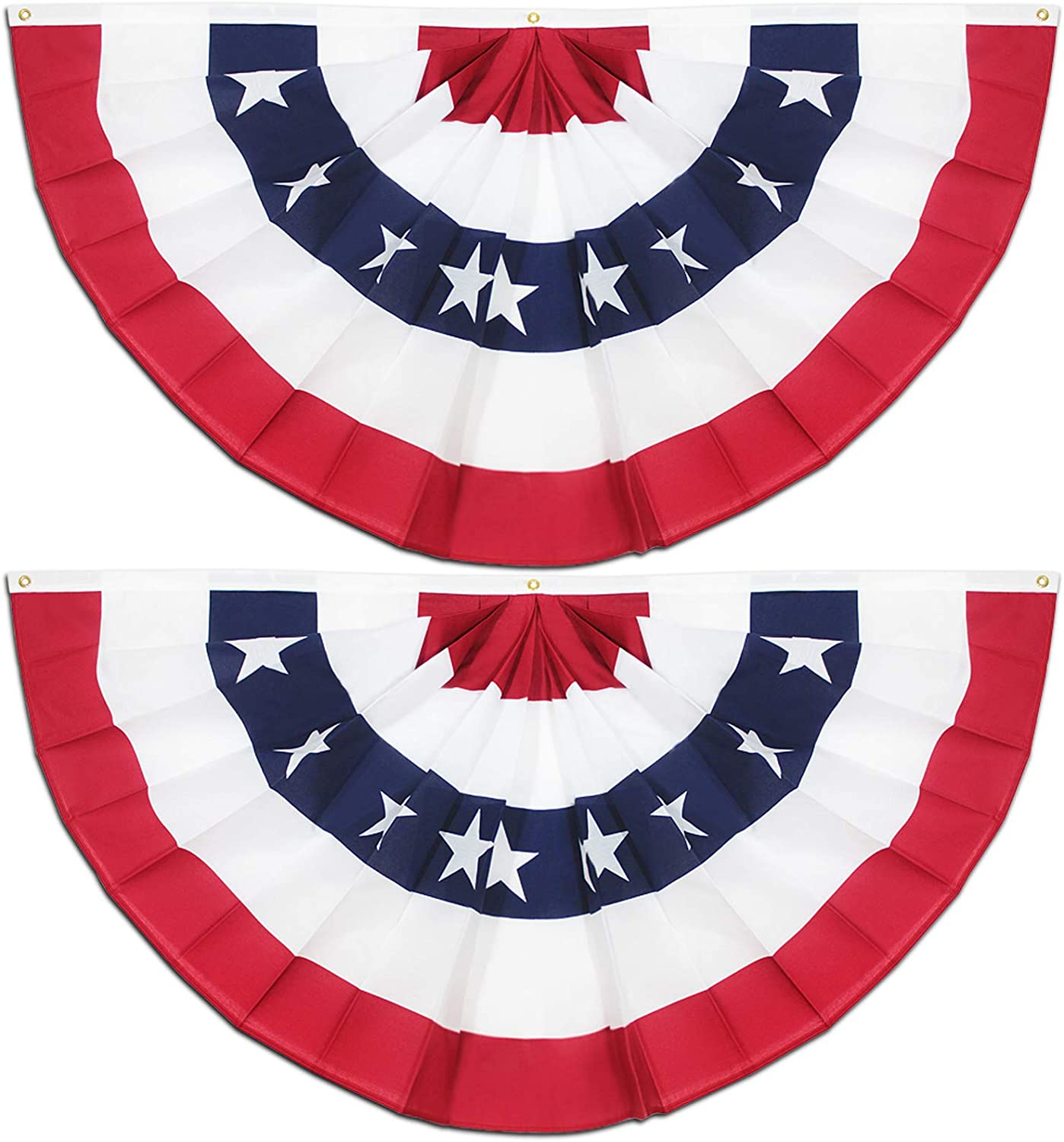 Anley USA Pleated Fan Flag, 1.5x3 ft American US Bunting Flag Patriotic Stars & Stripes - Sharp Color and Fade Resistant - United States 1.5 x 3 Ft Half Fan Banner(2 Pack)