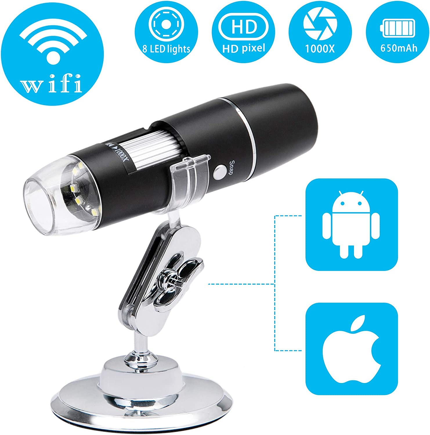 Beslands WiFi Digital Microscope Wireless 50X to 1000X Zoom Magnification Mini Handheld Endoscope Inspection HD Camera 8 LED Light, Compatible with iPhone iPad Android Smartphone Mac Windows