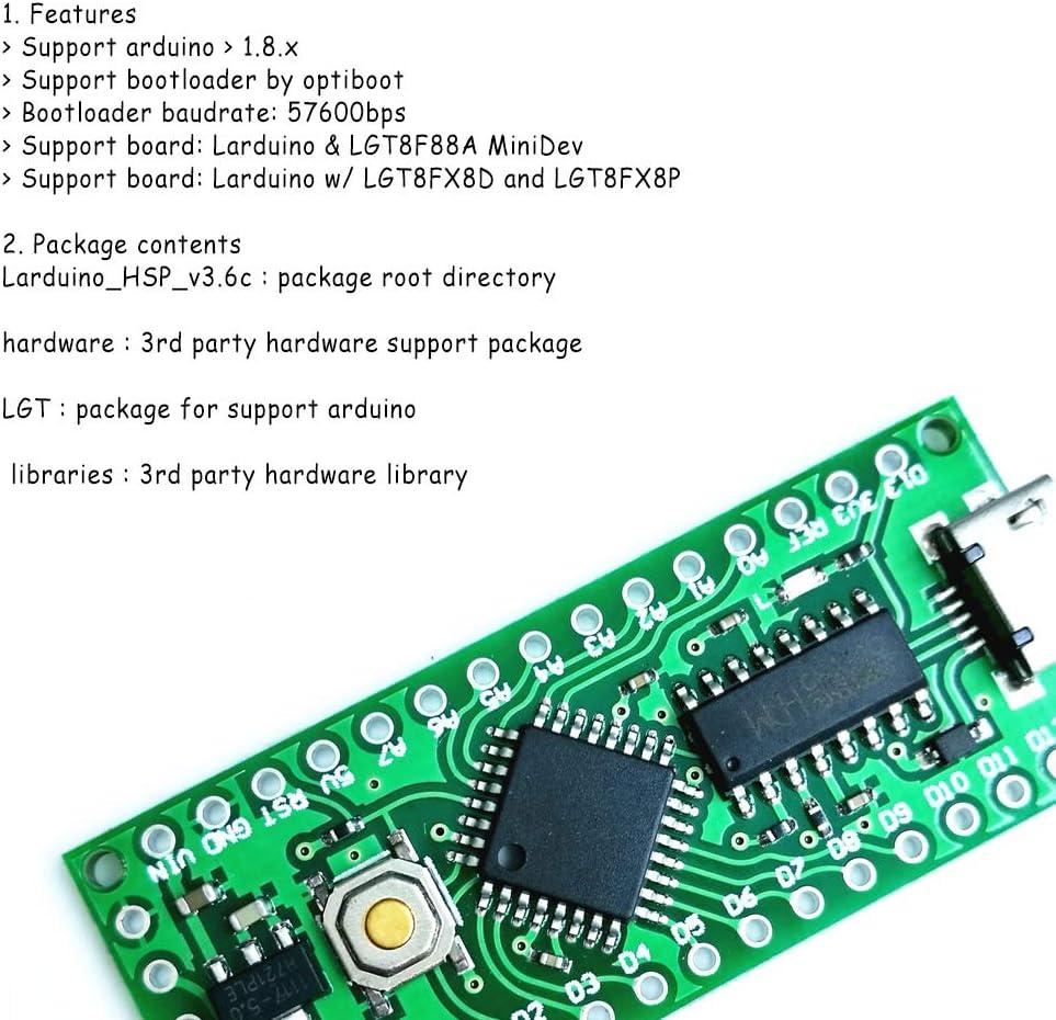 Acxico 1Pcs 5V 16M LGT8F328P-LQFP32 MiniEVB for Arduino Nano V3.0 HT42B534-1 Replace ATMeag328P