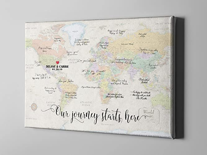 Amazon.com: SALE 50% Off Canvas Guest Book, World Map Guest Book ...