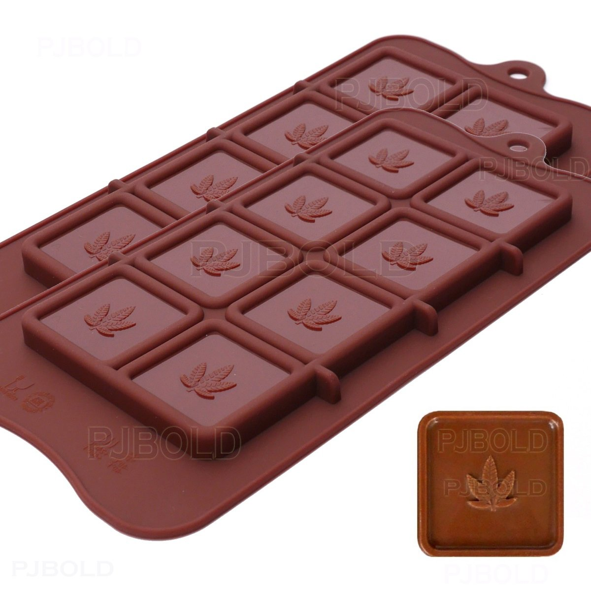 Marijuana Leaf Chocolate Bar Silicone Candy Mold Trays, 2 Pack PJ Bold Q1043