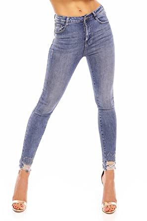 73e9c8819a9a Mayaadi Damen Jeanshose Skinny Slim Denim Röhre Pants Röhrenjeans Löcher  Ripped Destroyed T746 Blau XL