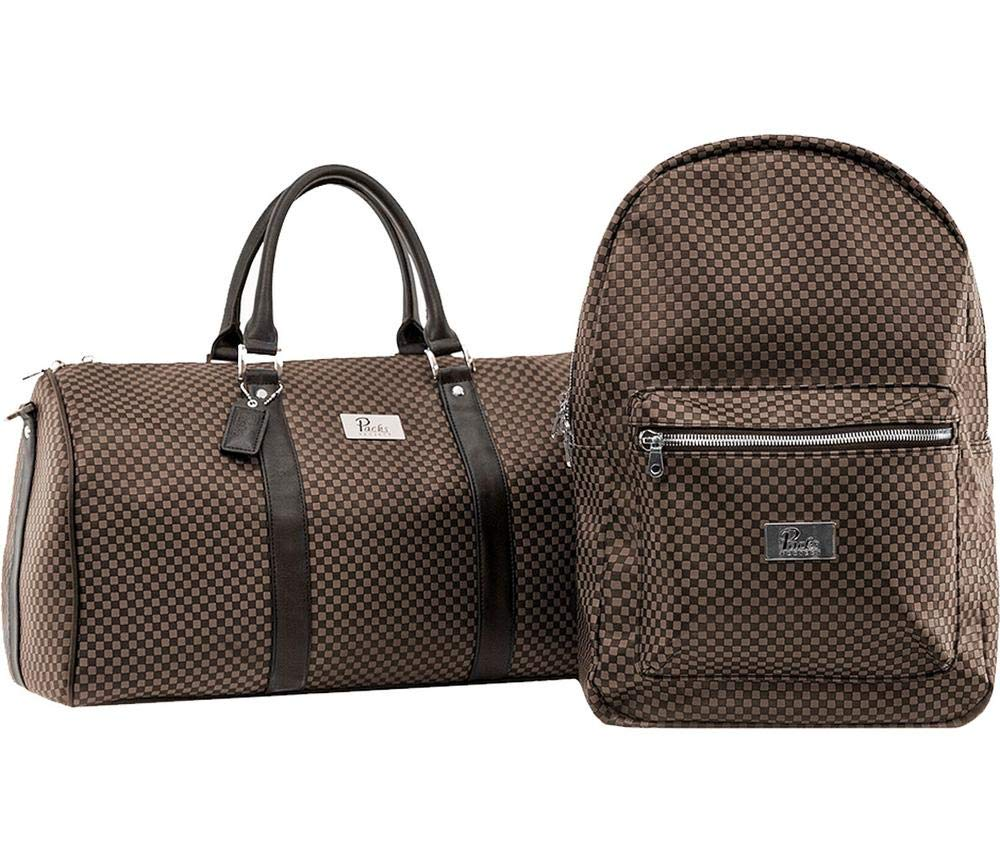 Packs Project - Lux Tan Travel Bag Set | Vegan Leather Backpack & Duffel | Carry On Size With Laptop Sleeve