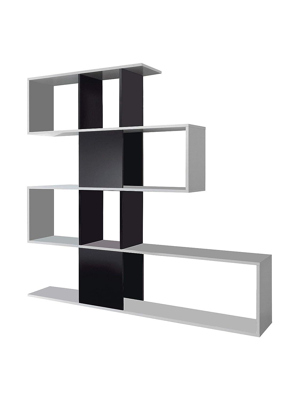 Amos Mann Furniture Zaga Large White with Black Gloss Bookcase Room Divider Wood Soft 0.1x0.1x0.1 cm