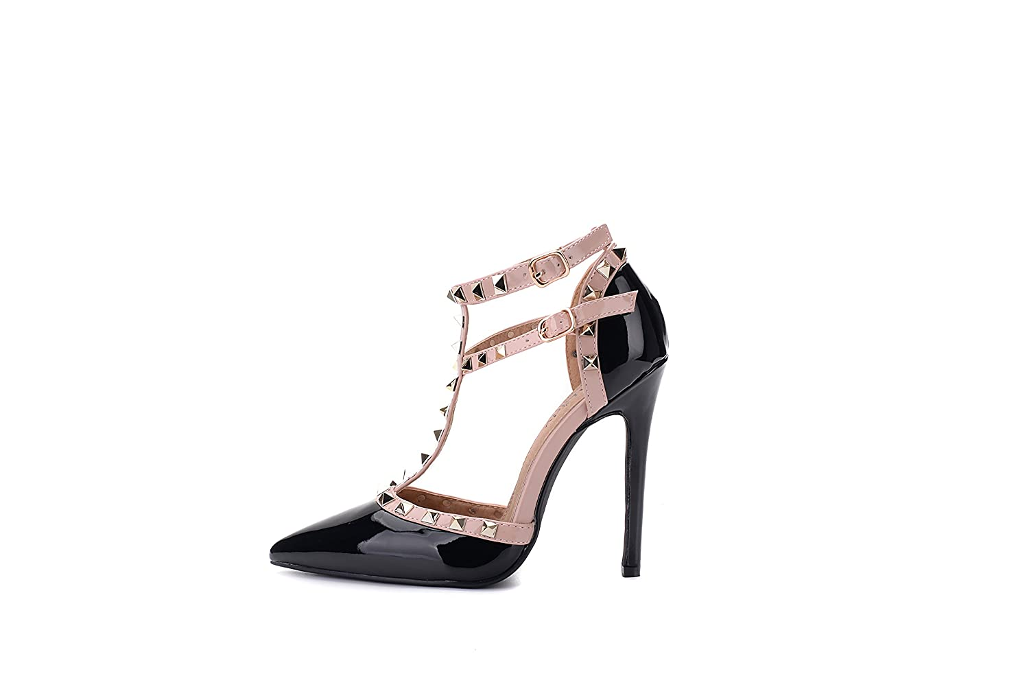 Mila Lady ETHER08 Two -Tone Patent Strappy Strappy Patent Ankle with Stud Elegance Platform Lady Heeled Pumps Shoes B072KM4BFC 8|Black b06edf